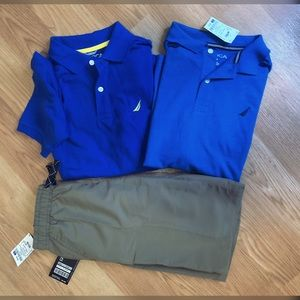 Boys Nautica Collar Polo Shirts 10/12 Blues